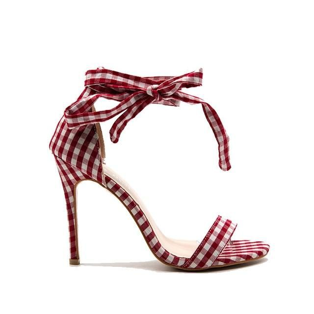 Plaid High Sandals Women