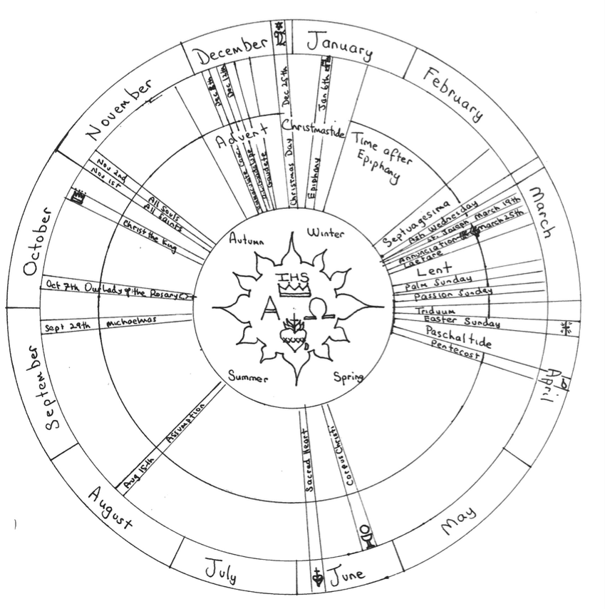 Coloring page for the traditional liturgical calendar
