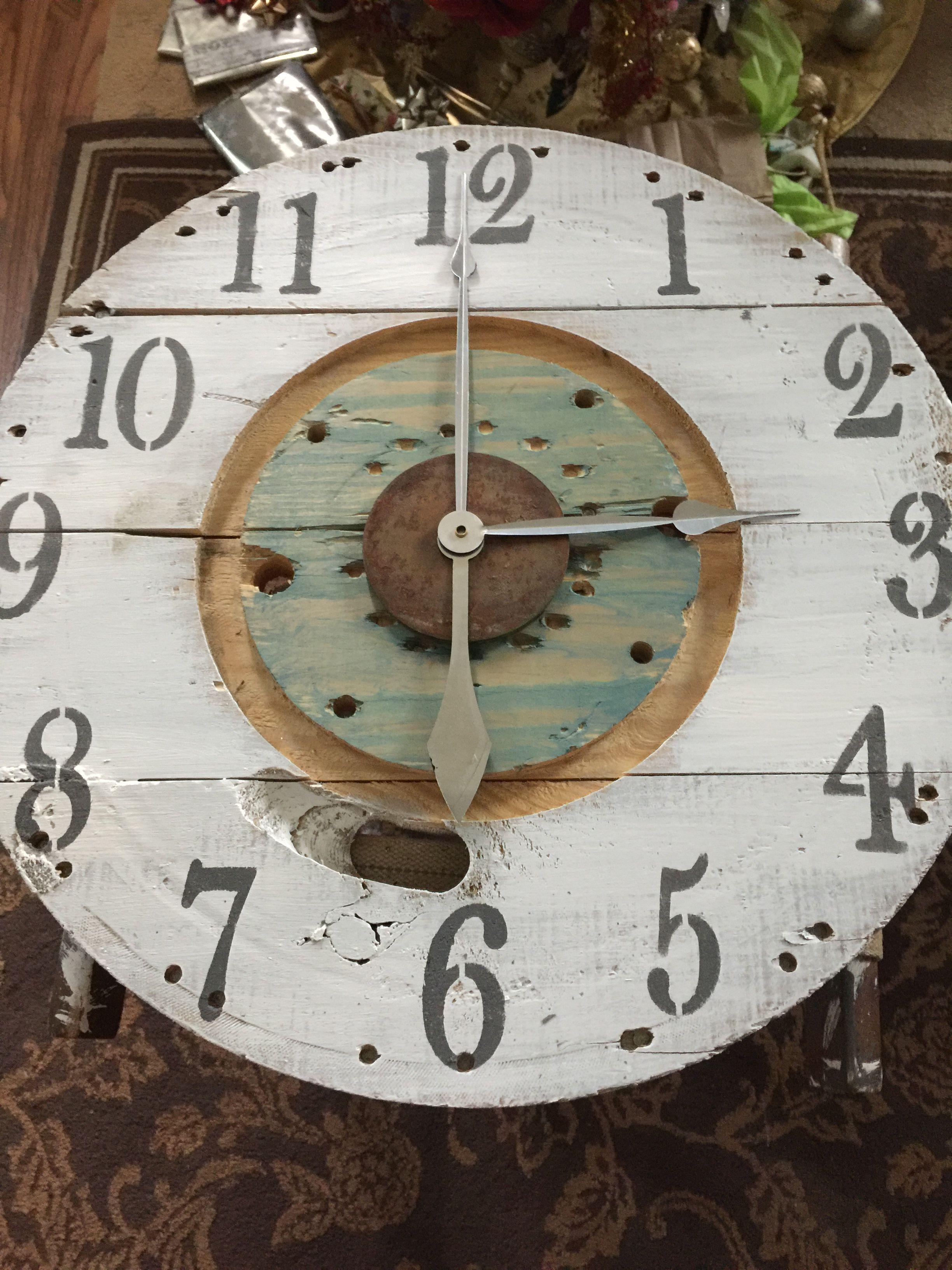 Urbanchic Designs Spool Clock For Sale All Custom Designs 23 Shipping Available Vintage Wall Clock Big Wall Clocks Clock Wall Art