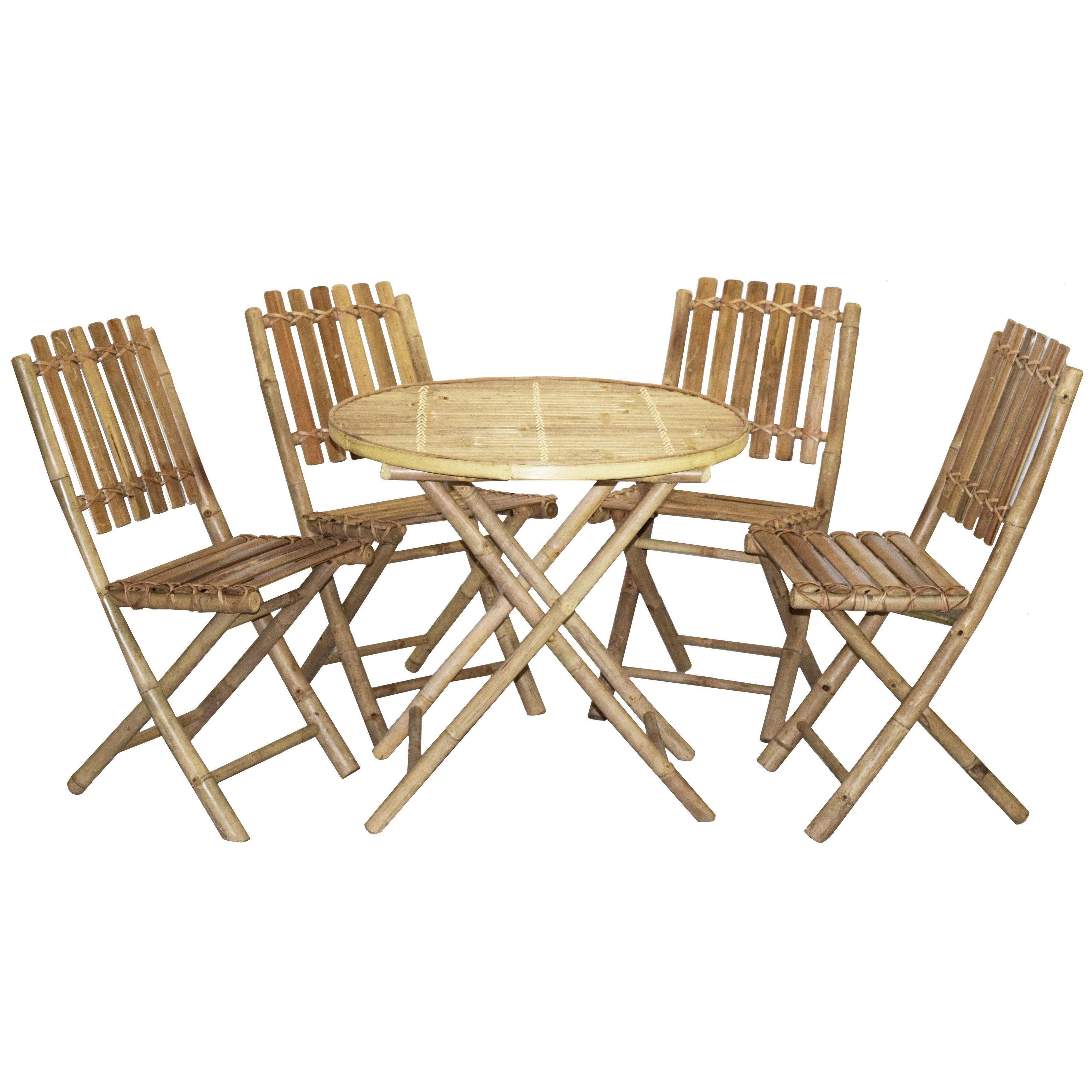 Wood 5 Piece Round Patio Dining Set   The Wood 5 Piece Round Patio Dining  Set Is A Charming Addition To Your Porch Or Patio, Bringing Refined Styling  With ...