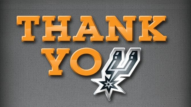 Thank you, Spurs Fans, for an amazing season! Watch a special message from your Spurs to the best fans in the league.  WIN OR LOSE I LOVE MY SPURS!!