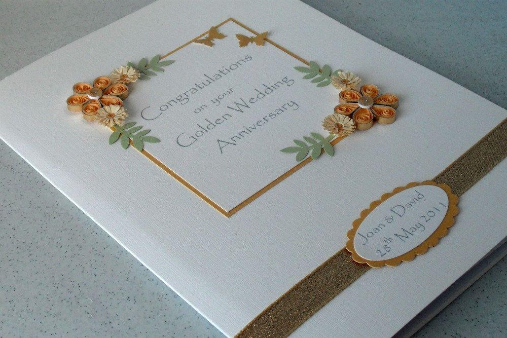 Handmade 50th anniversary card golden wedding congratulations