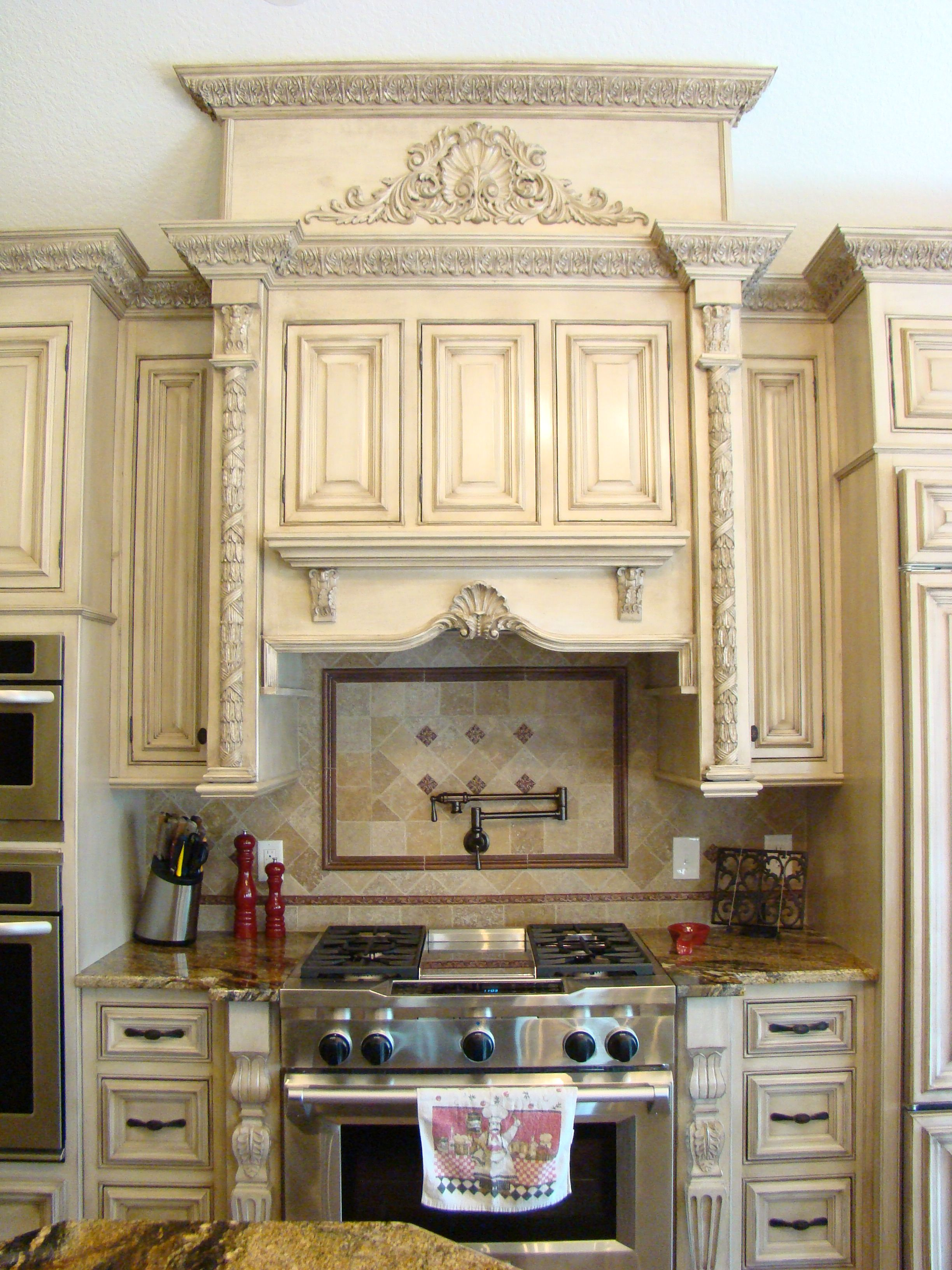 Kitchen Antique Finish Custom Doors And Drawers Intricate Molding Large Antique Finish Vent Custom Kitchen Cabinets Kitchen Design Classic Kitchen Cabinets