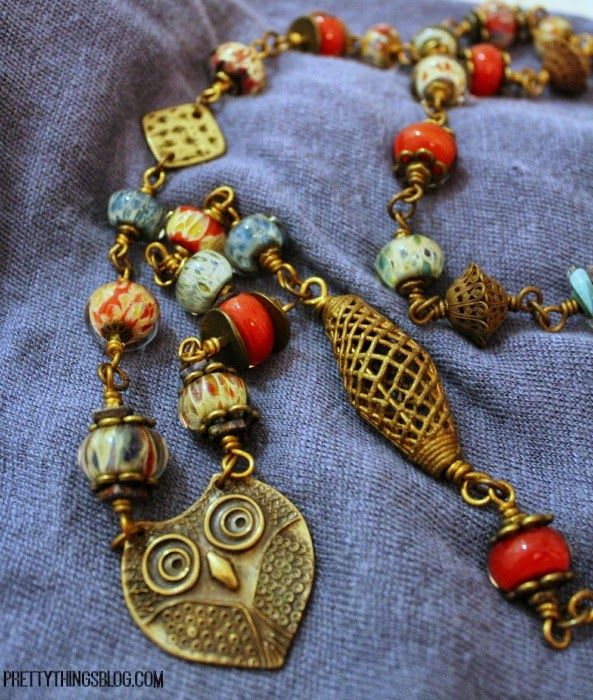 Owl & Bead Pendant Necklace - 2nd Annual Bead Hoarders Blog Hop at Lori Anderson's Pretty Things Blog #Beads #PandoraStyle #Challenge #Stash #Asian #Ceramic #Gifts