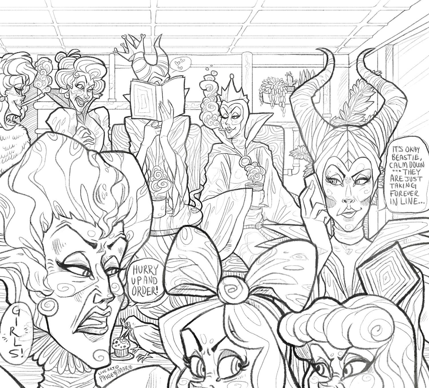 Coloring Page Disney Villain Cafe By Witchin Disney Coloring Pages Coloring Pages Enchanted Forest Coloring Book