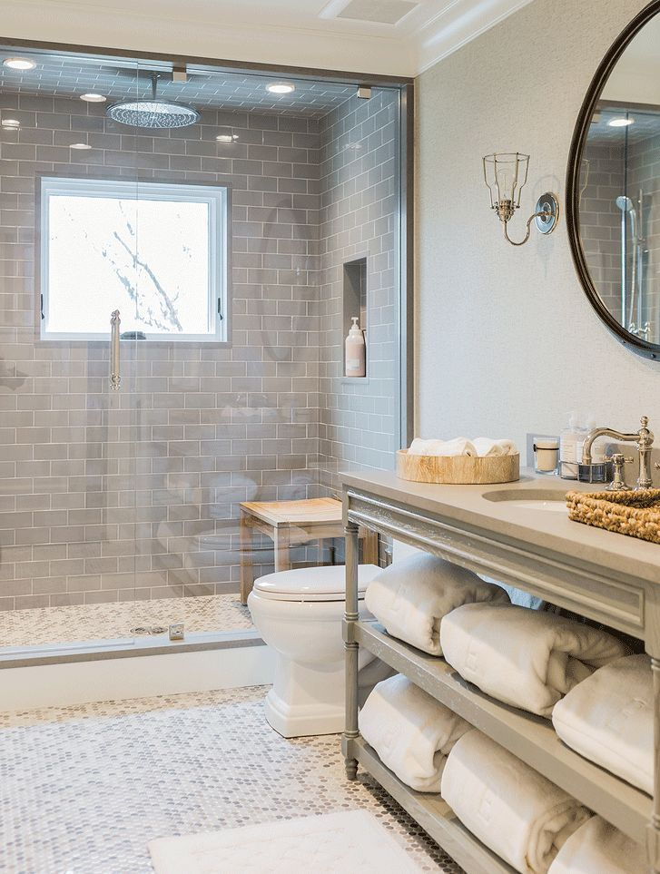 Photo Image Gray walk in shower boasts ceiling and walls clad in gray tiles fitted with a white and gray mosaic tiled shower niche as well as a vintage style e u