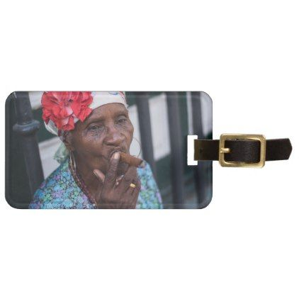 Black Lady Smoking A Cigar With Flower On Head Bag Tag And Flowers