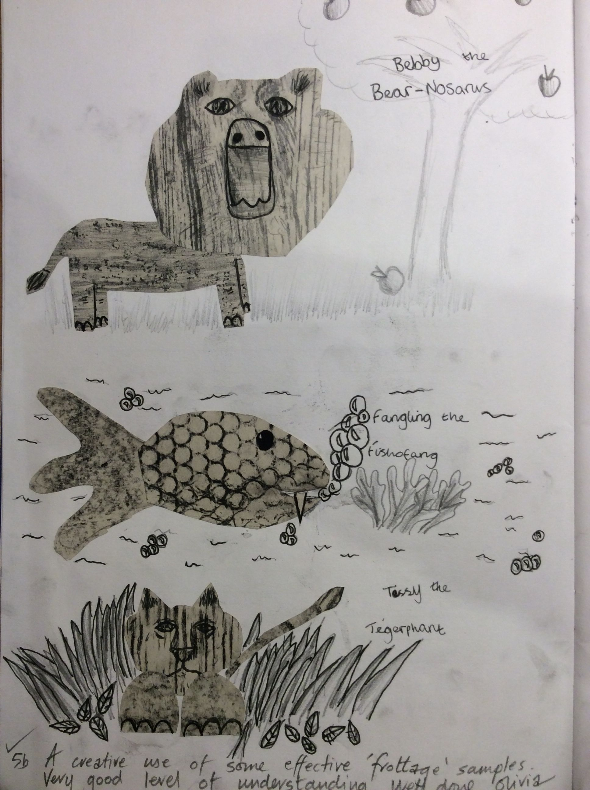 Y7 frottage creature | Young in 2019 | Art lessons ...