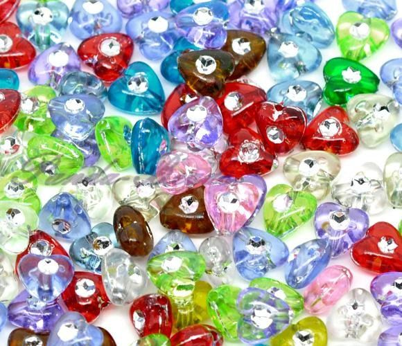 LOT DE 20 PERLES COEUR BIJOU STRASS MIXTES : Perles Synthétiques par breloques-et-bijoux