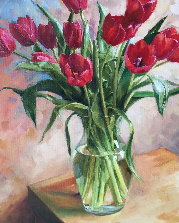 Red Tulips in Vase | oil on canvas | artist: Louisa Stoll ...