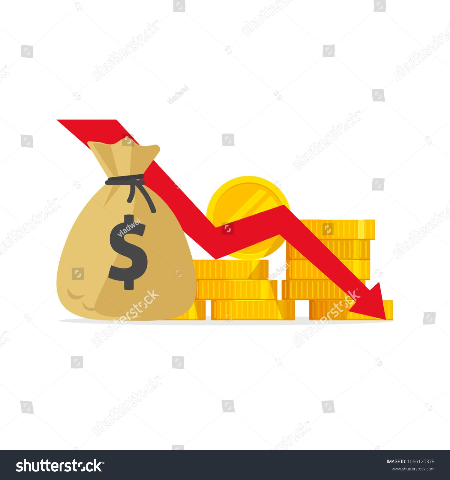 Money Loss Vector Illustration Flat Cartoon Cash With Down Arrow Stocks Graph Concept Of Financial Crisis Mark Vector Illustration Stock Graphs Illustration