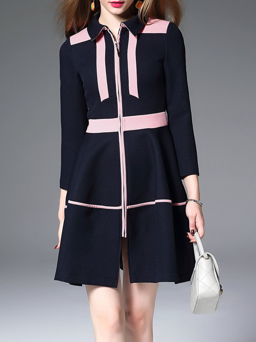 Adorewe stylewe dder colorblock shirt collar long sleeve midi