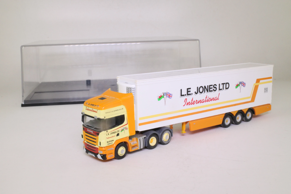 Oxford Diecast SCA01FR; Scania Fridge Trailer, LE Jones Ltd; Very Good – Little Wheels