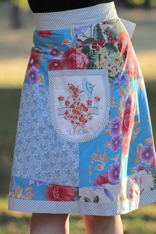 Sunday\'s Child. Vintage fabric wrap skirt | Alte kleidung, Schürzen ...