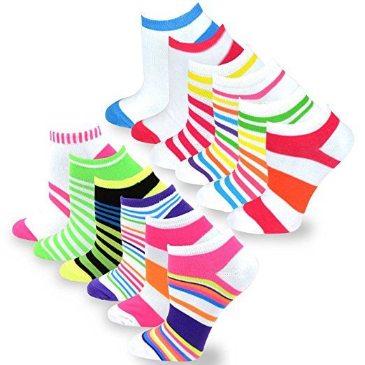 TeeHee Women's Fashion No Show Fun Socks 12 Pair Pack (Butterfly Flower-Neon) at Amazon Women's Clothing store: