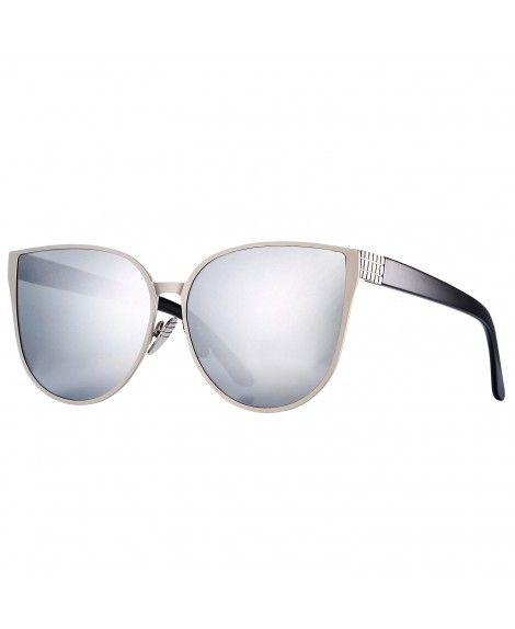 a4089e93d7 Buy Pro Acme New Women Oversized Metal Frame Mirrored Flat Lens Cat Eye  Sunglasses (Silver