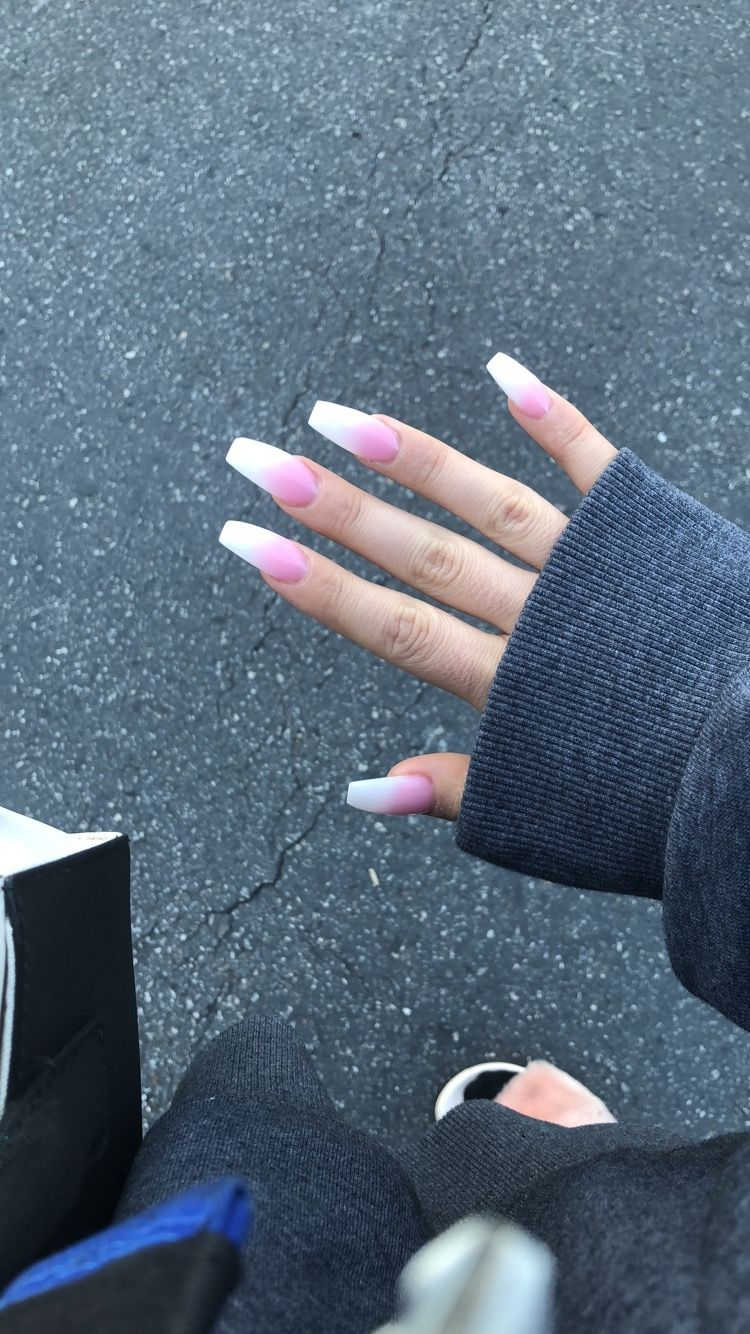 Pink And White Ombre Nails Acrylic Full Set Coffin Nails Pink Ombre Nails Ombre Nails Coffin Nails