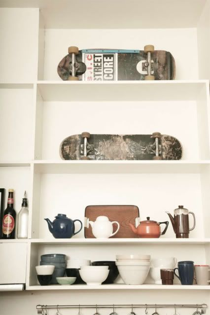 skateboards and teapots on the shelves. Justin would love this :)