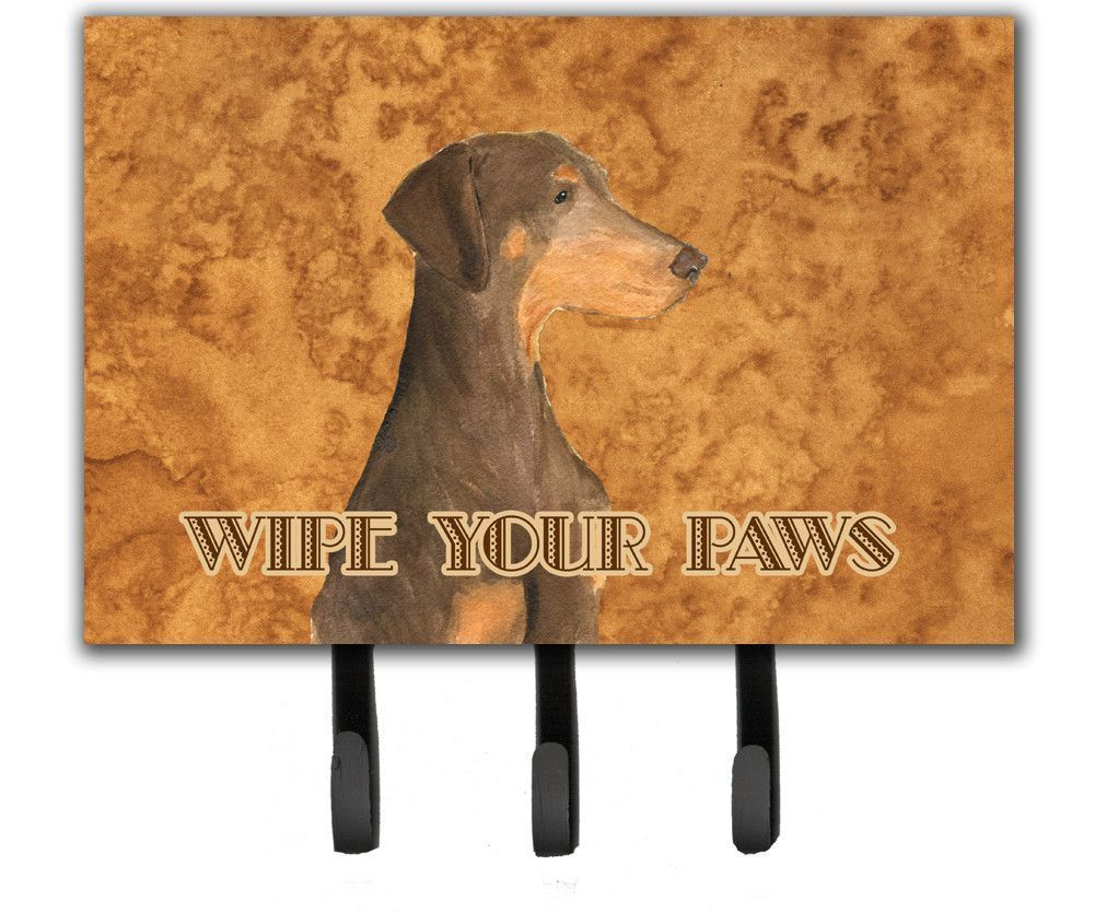 Chocolate Natural Eared Doberman Wipe your Paws Leash or Key Holder