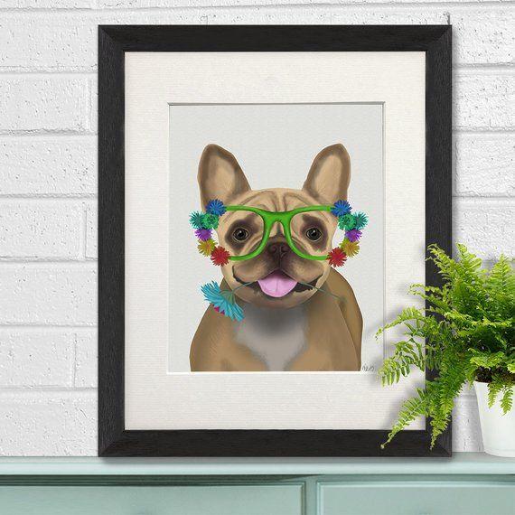 Funny bulldog - French Bulldog in flower glasses - Frenchie dog French bulldog art Frenchie art Bull #funnybulldog