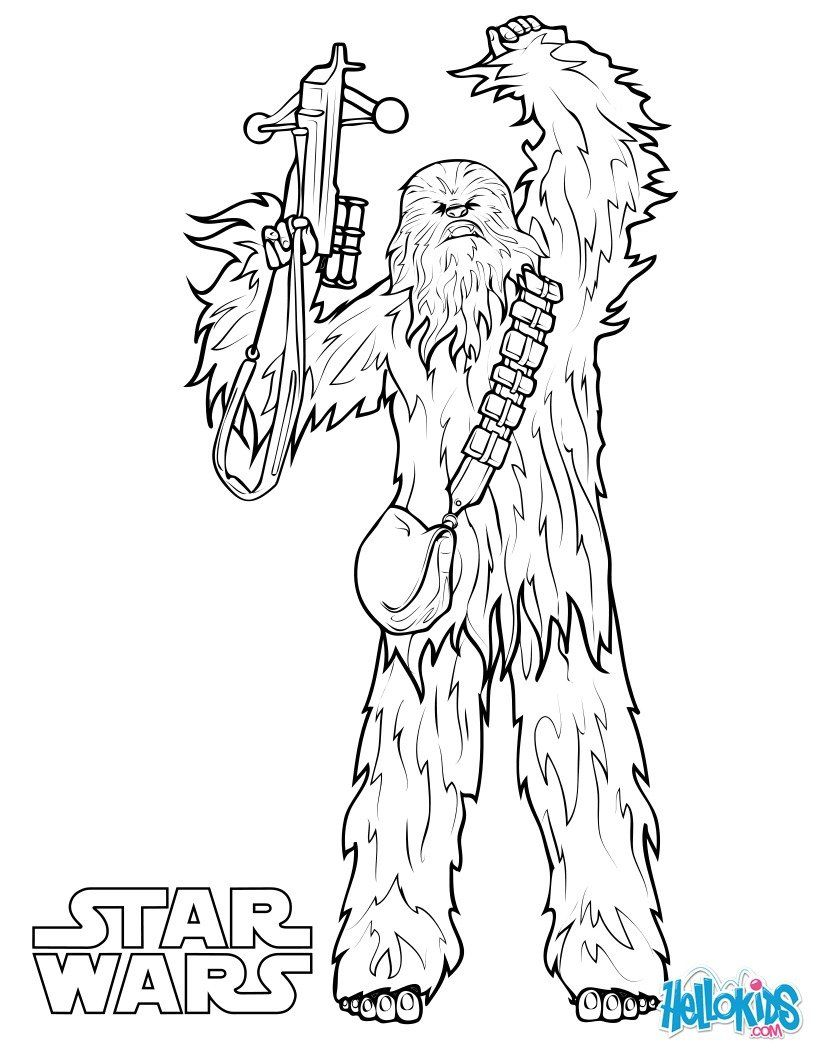 Chewbacca Coloring Page More Star Wars Content On Hellokids Com