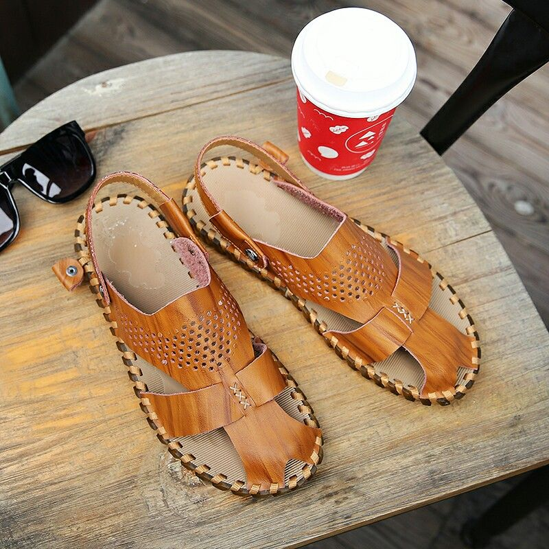 b44d4395c3b1 US  27 New Arrival Summer Men Leather Gladiator Sandals Shoes Open Toe  Genuine Leather Sandals Slippers Fashion Casual Beach