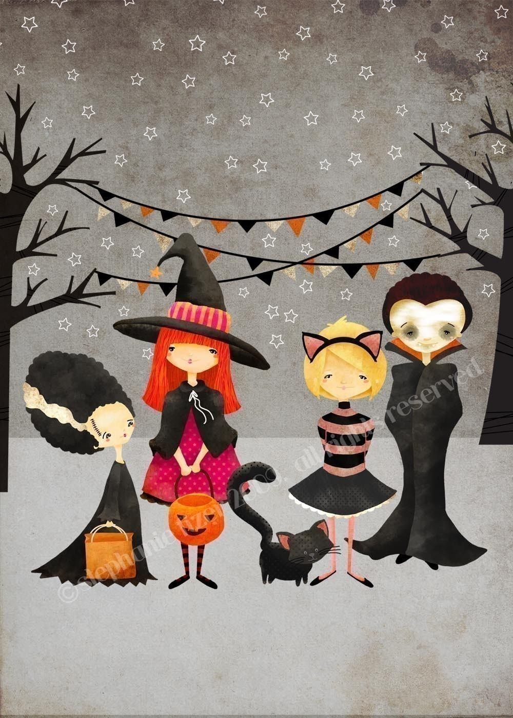 Halloween Art Print --The Boo Crew Print - kids art children\u0027s art - Whimsical Halloween Decorations