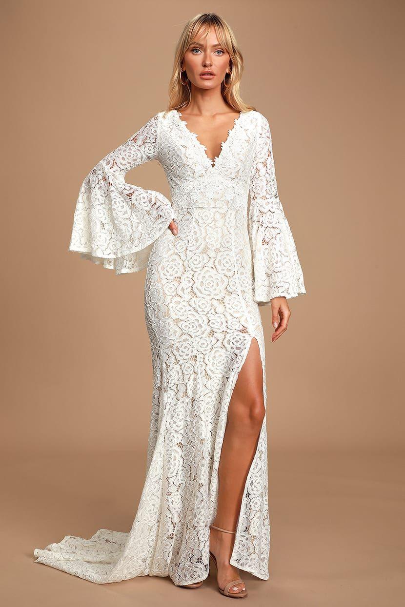Duchess Ivory Lace Bell Sleeve Maxi Dress Maxi Dress With Sleeves Long Sleeve Maxi Dress Long Sleeve Bridal Dresses [ 1245 x 830 Pixel ]