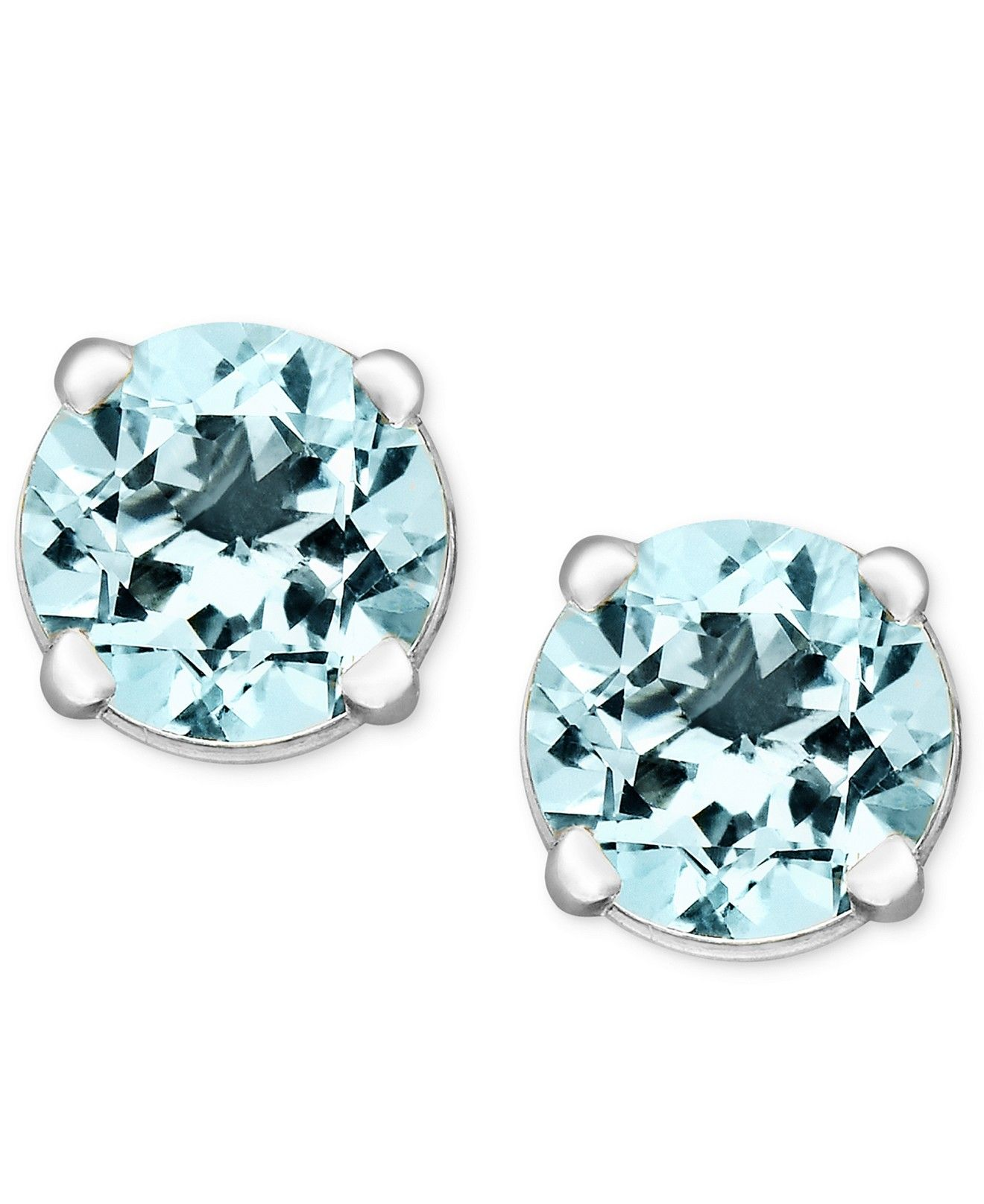 aquamarine earrings marine stud set birthstone march round aqua white gold bezel