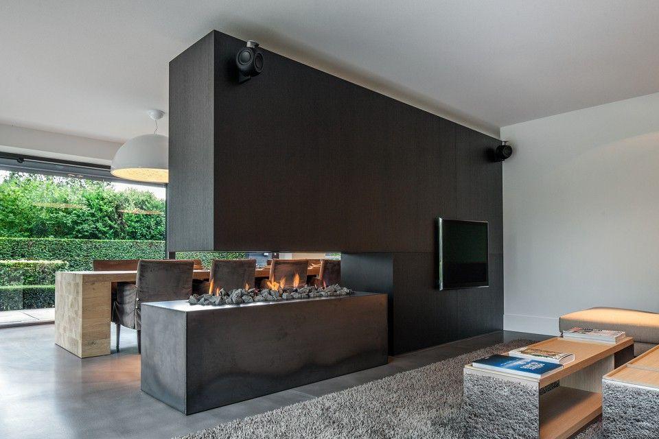 Culimaat - Ligna - Luxe open haard in moderne woonkamer | cuisine ...