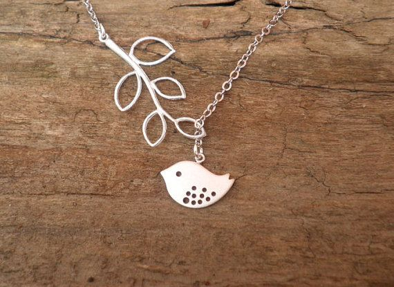 Bird and Branch | Lariat Necklace | Silver | by ElementOfNature, $18.00.... Cutesy <3