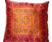 BOHO VINTAGE PILLOW Sham in Pink and Yellow Boho Silk made from a Beautiful