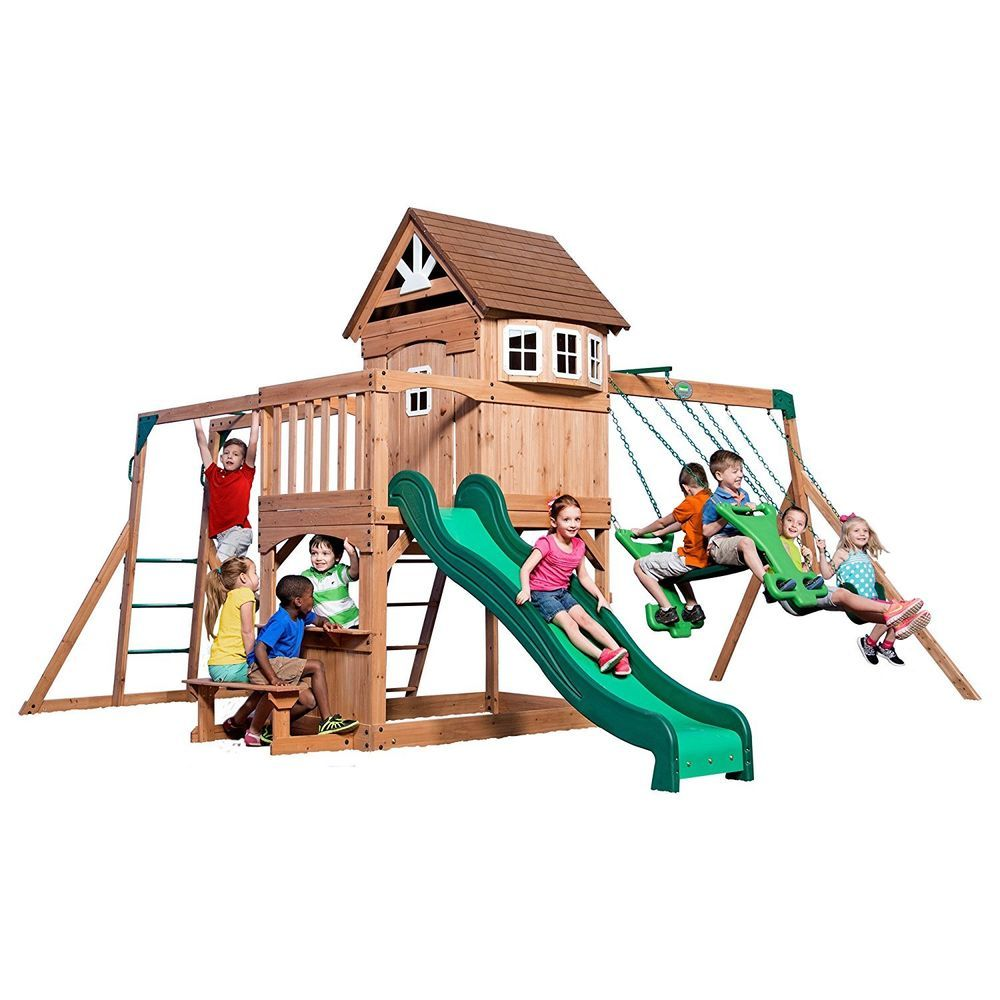 Backyard Discovery Montpelier All Cedar Wood Playset Swing ...