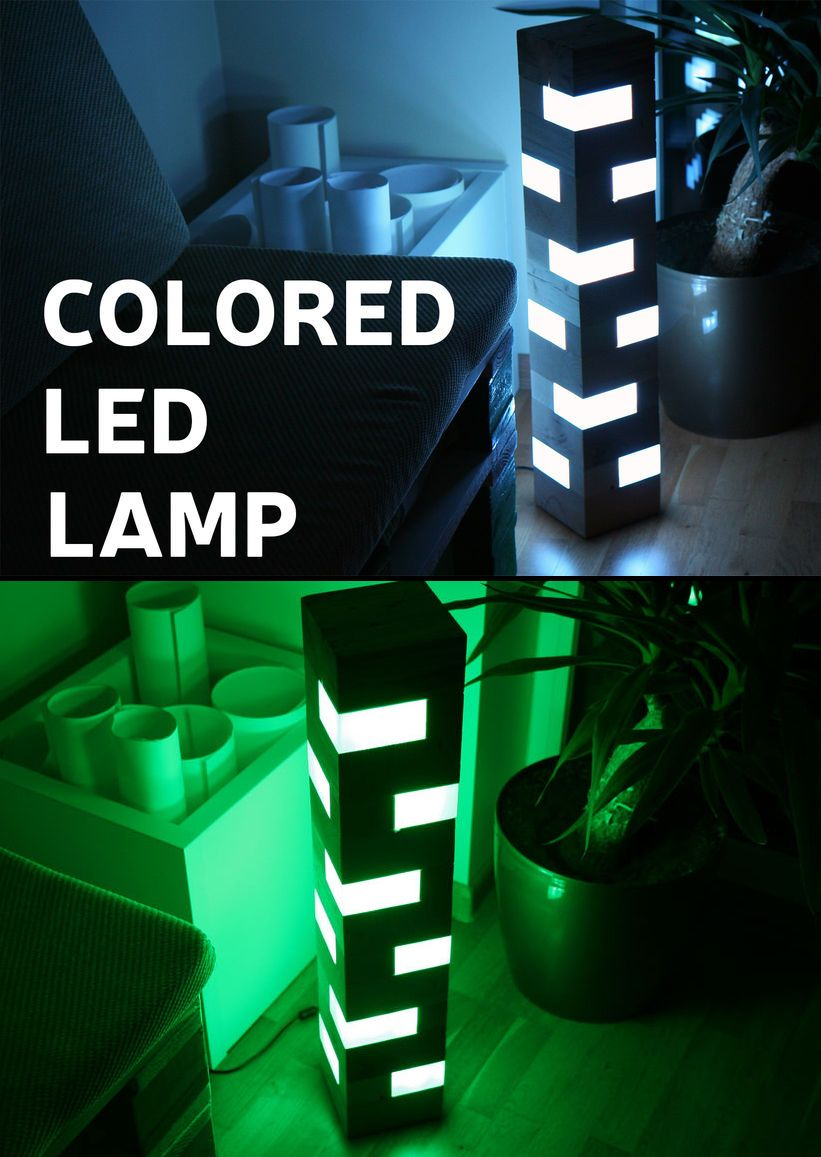 Colored LED Lamp From Pallet Wood Blocks Led lamp, Wood