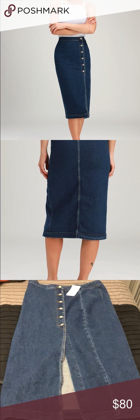 f16794102 JASMINE DARK WASH BUTTONED MIDI SKIRT Free People Jasmine Dark Wash  Buttoned Midi Skirt! This