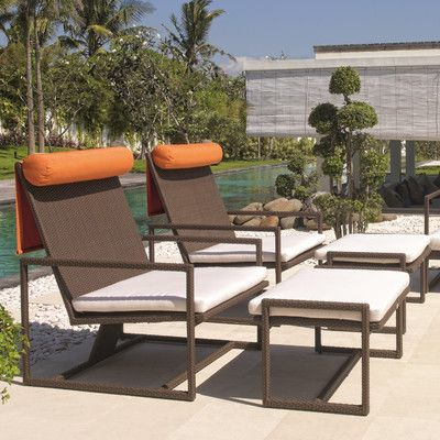 Dann Foley Malibu Lounge Chair And Ottoman With Cushions Contemporary Outdoor Chairs Patio