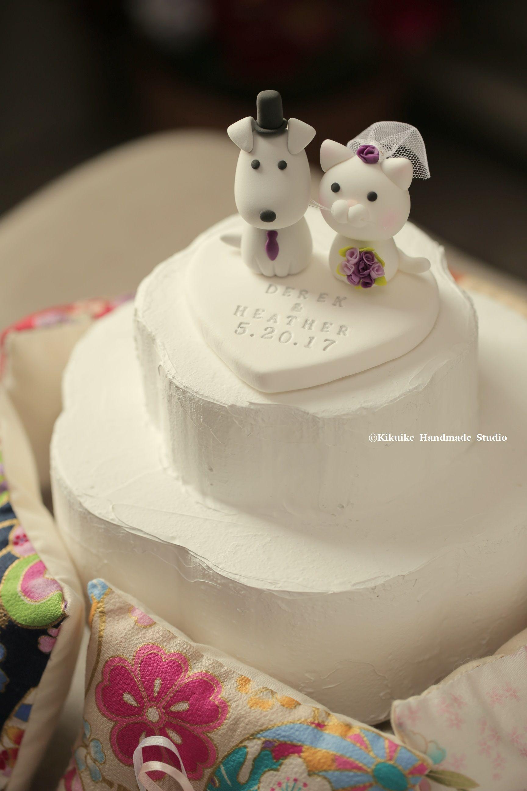cat and dog Wedding Cake Topperk847 ウェディング