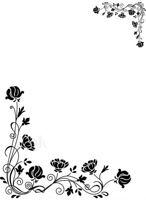 Flower Borders Black And White Flower Border Border Design Simple Cards