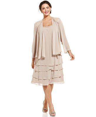 Sl Fashions Plus Size Sleeveless Embellished Tiered Dress And Jacket