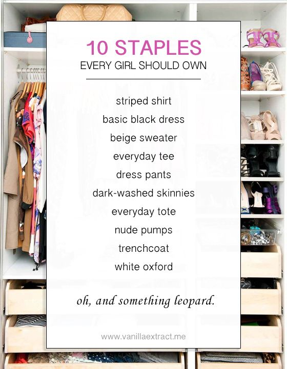 121af407a12 10 Staples Every Girl Should Own    vanilla extract. Looks like I need to  add a few things to my closet!  )