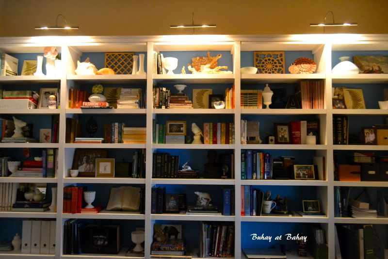 bookcase with swing arm lamps - Google Search | Bookcase Styling ...
