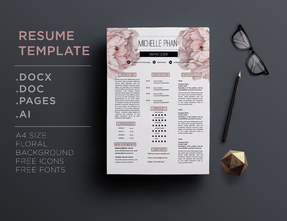 floral cv template by chic templates on creative market