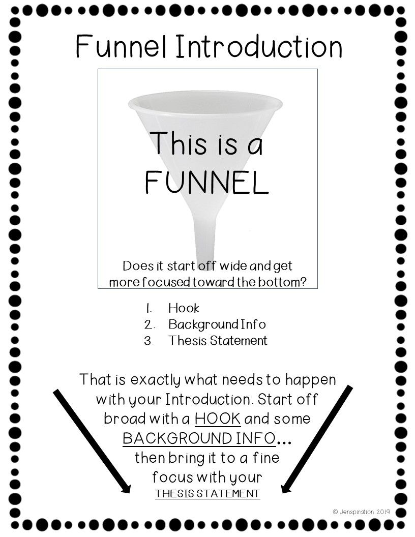 Funnel Introductions Are A Great Way To Kick Off An Essay They Start Off Broad Like A Funnel Does Then Slowly Get Thesis Statement Writing Hooks Essay Plan [ 1056 x 816 Pixel ]