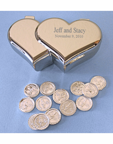 Engraved Silver Heart Box With 13 Arras Wedding Coins