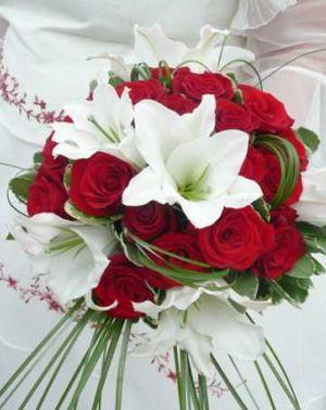 Bouquet de fleur mariage rouge et blanc