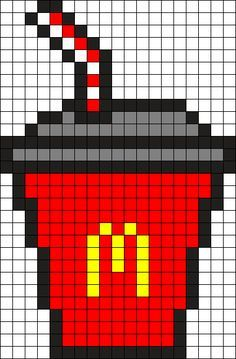 Drink Cup With Straw Perler Bead Pattern Bead Sprite