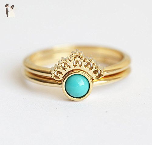 Turquouse Ring Gold Turquoise Set Wedding Lace With