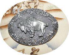 1993 EGE 3D Diamond Cut Pewter Colored Buffalo Belt Buckle