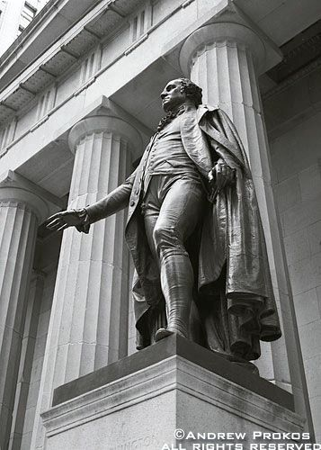 George Washington Statue At Federal Hall Framed Photograph By Andrew Prokos George Washington Statue Black And White City Black And White Portraits