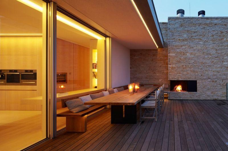Tipps Zur Terrassengestaltung-modernes Deck Mit Vordach-esstisch ... Terrassengestaltung Tipps